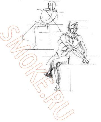 Порядок построения или как научиться рисовать человека карандашем поэтапно.  Нарисуем точку опоры.